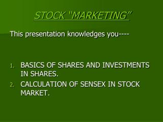"STOCK ""MARKETING"""