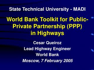 World Bank Toolkit for Public-Private Partnership (PPP) in Highways