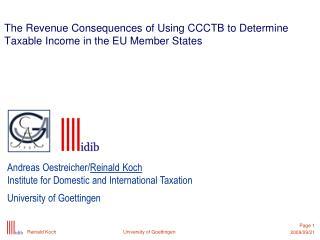 The Revenue Consequences of Using CCCTB to Determine Taxable Income in the EU Member States