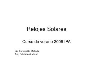 Relojes Solares
