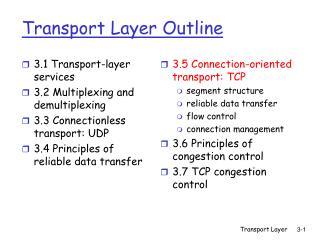 Transport Layer Outline