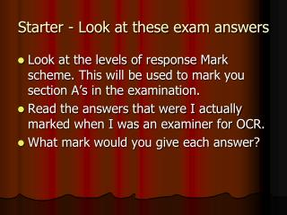 Starter - Look at these exam answers