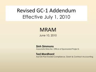 Revised GC-1 Addendum Effective July 1, 2010