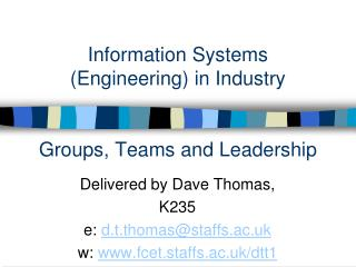 Information Systems (Engineering) in Industry Groups, Teams and Leadership