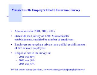 Massachusetts Employer Health Insurance Survey