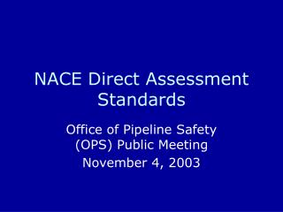 NACE Direct Assessment Standards