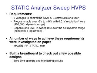 STATIC Analyzer Sweep HVPS