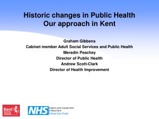 Historic changes in Public Health Our approach in Kent