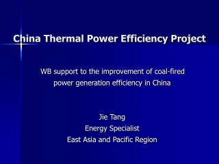 China Thermal Power Efficiency Project