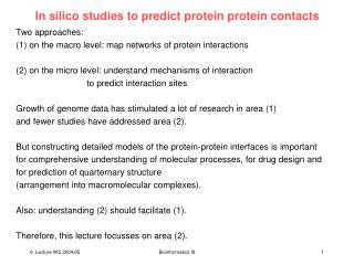 In silico studies to predict protein protein contacts