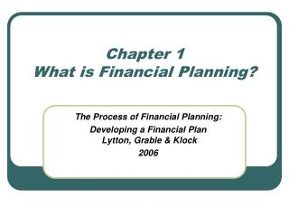 Chapter 1 What is Financial Planning?