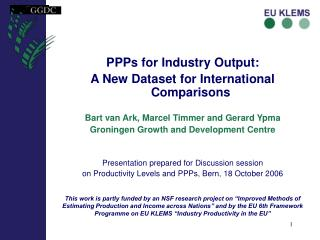 PPPs for Industry Output: A New Dataset for International Comparisons