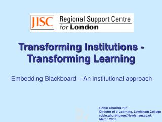 Transforming Institutions - Transforming Learning