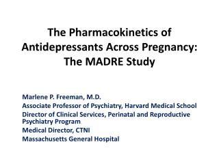 The Pharmacokinetics of Antidepressants Across Pregnancy: The MADRE Study