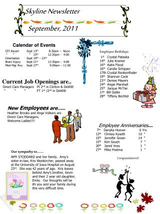 Skyline Newsletter    September, 2011