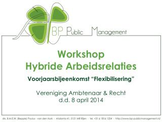 Workshop  Hybride Arbeidsrelaties