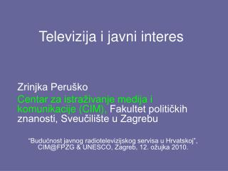 Televizija i javni interes