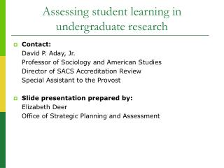 Assessing student learning in undergraduate research