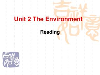Unit 2 The Environment