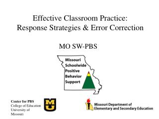 Effective Classroom Practice:  Response Strategies & Error Correction