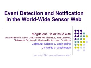 Event Detection and Notification in the World-Wide Sensor Web