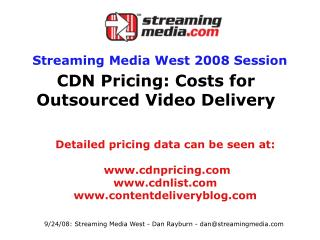 CDN Pricing: Costs for Outsourced Video Delivery
