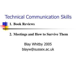 Technical Communication Skills