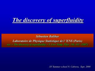 The discovery of superfluidity