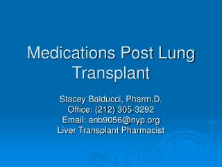 Medications Post Lung Transplant