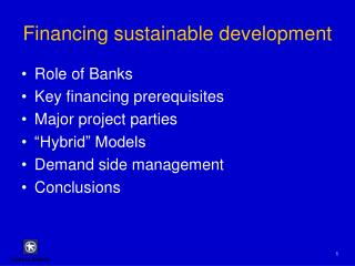 Financing sustainable development