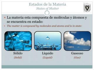 Estados de la Materia States of Matter