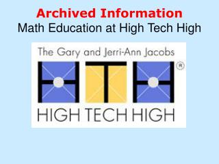 Archived Information Math Education at High Tech High