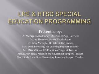 LRE & HTSD Special Education Programming