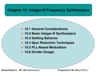 Chapter 10  Integer-N Frequency Synthesizers