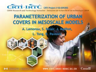 PARAMETERIZATION OF URBAN COVERS IN MESOSCALE MODELS