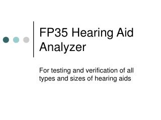 FP35 Hearing Aid Analyzer