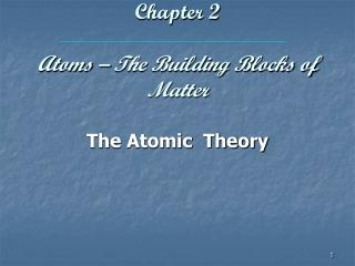 Chapter 2 Atoms – The Building Blocks of Matter