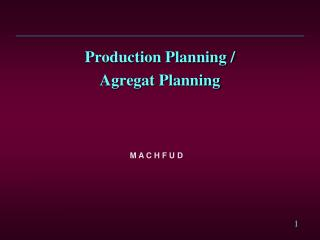 Production Planning /  Agregat Planning