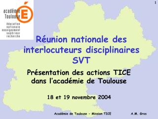 Réunion nationale des interlocuteurs disciplinaires SVT