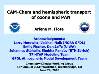 CAM- Chem  and hemispheric transport of ozone and PAN
