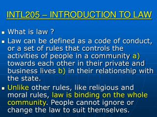 INTL205 – INTRODUCTION TO LAW