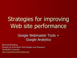 Strategies for improving Web site performance