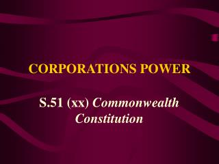 CORPORATIONS POWER