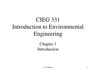 CIEG 331 Introduction to Environmental Engineering