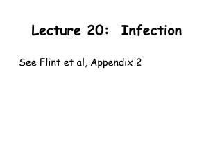 Lecture 20:  Infection
