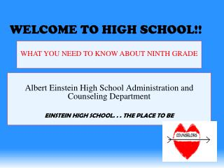 Albert Einstein High School Administration and Counseling Department