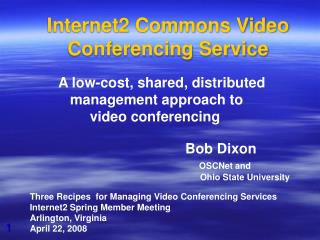 Internet2 Commons Video Conferencing Service