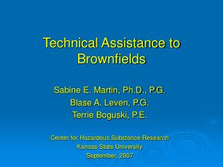 Technical Assistance to Brownfields