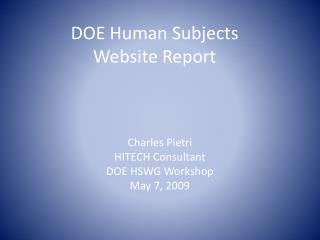 DOE Human Subjects Website Report