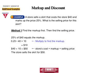 Markup and Discount